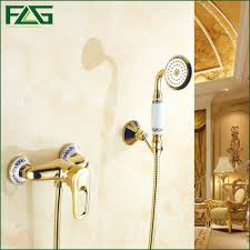 golden bathroom shower column faucet wall: euro style golden plated finish dual handle brass bath amp shower faucet with slide bar with hand shower hs