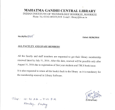 mahatma gandhi central library iit roorkee notice library membership renewal faculty staff