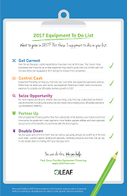 infographic equipment to do list leaf commercial capital inc infographic 2017 equipment to do list