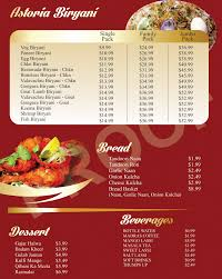 menu astoria biryani next previous