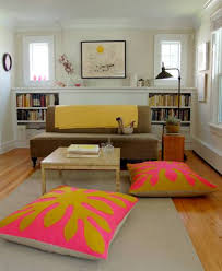Comfy Floor Seating White Fabric Low Base Floor Seating Couch With Colorful Cushions