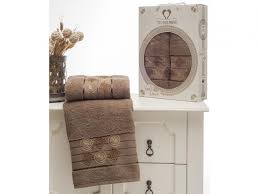 Towel set TWO DOLPHINS, Gold Greek, 2 subject, Brown|Bath ...