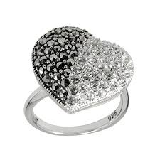 Aura <b>925 Sterling Silver</b> Marcasite & White Crystal Heart Ring Size 7 ...