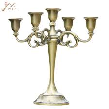 <b>Silver</b>/<b>Gold</b>/Bronze/Black <b>3 Arms Metal Pillar</b> Candle Holders ...
