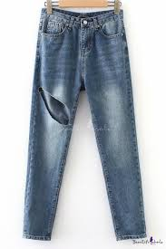 Vintage Blue Cutout <b>Solid Color Womens Summer</b> Regular Fit Jeans