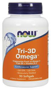 Рыбий жир в капсулах + Д3, Tri-3D Omega, Now Foods, 90 капсул ...