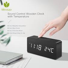 <b>LED</b> Wooden <b>Alarm Clock Watch</b> Table Voice Control <b>Digital</b> Wood ...
