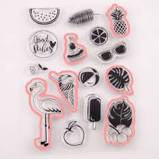 INS Summer Flamingo Silicone Transparent Rubber Stamp ...