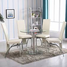 round glass 5 piece dining table set 4 chairs kitchen room breakfast furniture breakfast furniture sets