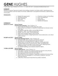 resume for a cleaning job