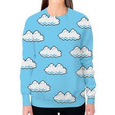 Заказать свитшот женский с полной запечаткой Облака <b>8 bit</b> ...