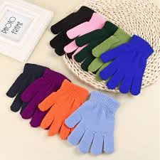 9 Colors <b>Children</b> Stretch <b>Autumn Winter Warm</b> Gloves <b>Kids</b> Baby ...
