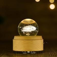<b>Moon Crystal Ball</b> Night Light <b>Wooden</b> Music Box Music Box Rotary ...