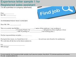 2 experience letter sample 1 for registered sales assistant registered sales assistant