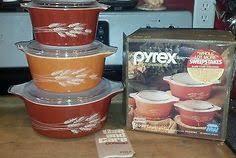 Details about Pyrex <b>Vintage 3 Pc Set</b> Autumn Harvest Wheat Oval ...