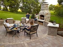 outdoor fireplace paver patio: outdoor fireplace paver patio with seat wall and fireplace transitional patio