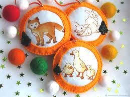Ёлочные оранжевые фетровые игрушки <b>Весёлый хоровод</b> ...