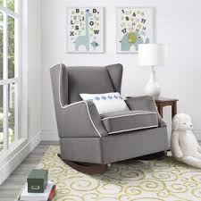 baby relax hudson graphite grey wingback rocker chair baxton studio iona mid century retro modern