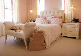 feminine bedroom furniture bed: elegant pink bedroom with cream headboard and furniture