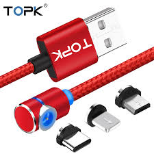 <b>TOPK</b> L Line <b>Magnetic</b> Charging Cable ,90 Degree LED Cable for ...