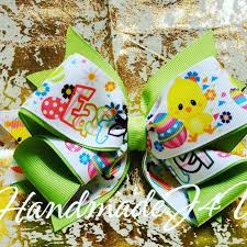 Easter <b>Print</b> Hair Bow with <b>Apple Green Grosgrain Ribbon</b> on a hair ...