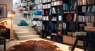 decoration simple constructed ladder made of concrete materials completing small home library that enlightened by home office library decoration modern furniture