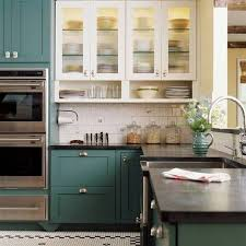 painted blue kitchen cabinets house:  beautigul corner kitchen cabinet ideas painted soft dark blue with black kitchen countertops also