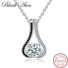 2019 <b>BLACK AWN Genuine 925</b> Sterling Silver Necklace For ...