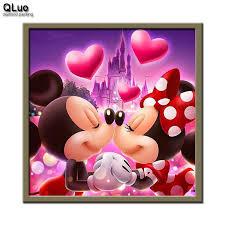 Qluo <b>5d Diamond</b> Painting Love Mickey Full Drill Cross Stitch ...