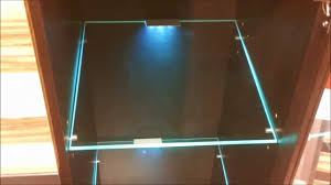 led lights edge lit glass cabinet shelf backlighting how to install blau schrank regal youtube adding cabinet lighting
