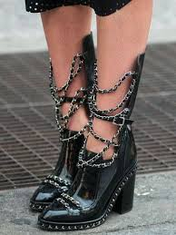 stiletto stitching martin chelsea boots round toe silver chain black leather chunky ankle female fashion design boot