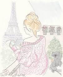 Paris <b>Eiffel Tower</b> Fashionable Morning Coffee and Kitty Cat <b>Print</b> ...