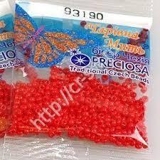 <b>Бисер PRECIOSA</b>, цв. <b>93190</b> - Красный, <b>10/0</b>(2,3мм), Круглый , 5г