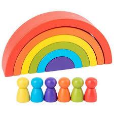 <b>Wooden 6pc</b> Rainbow Stacking Blocks with <b>6 Pcs</b> doll small Fun ...