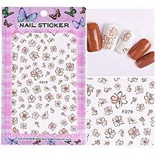 Buy SOLEDI® <b>1 Sheet Embossed 3D</b> Nail Stickers Blooming Flower ...