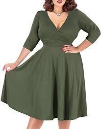 Nemidor Women's <b>V</b>-<b>Neckline</b> Stretchy Casual Midi <b>Plus Size</b> ...