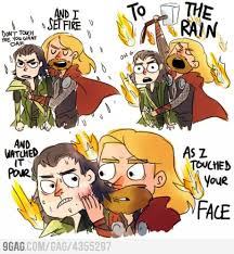 GAGBAY - Thor hugging Loki and singing Set Fire to the Rain. via Relatably.com