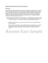 lead summary sample resume ease project description