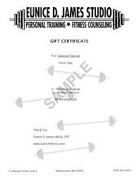 gift certificates eunice d james fitness studio see a sample gift certificate