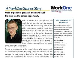 workone workshop and training lead to driver career work experience program and on the job training lead to career opportunity