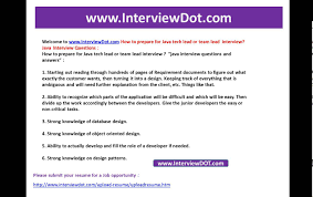 how to prepare for java tech team lead java interview interviewdot how to prepare for java tech team lead java interview interviewdot resume post