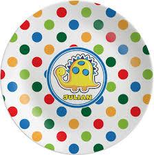 dots dinosaur melamine plate personalized potty scotty dots dinosaur melamine plate personalized