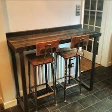 table bar height chairs diy: reclaimed industrial  seater chic tall poseur tablewood amp metal desk dining table middot bar height counterdiy