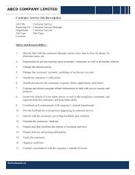 Customer Service Representative Job Description ... Job Description - Customer Service Representative