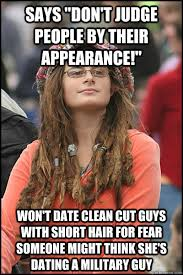 """says """"don't judge people by their appearance!"""" won't date clean ... via Relatably.com"""