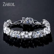 <b>ZAKOL Shiny</b> Zirconia Women Bracelets Bangles For Brides ...