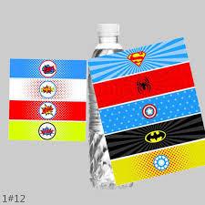 <b>24PCS</b> Superman <b>Superhero</b> the Avengers Water Bottle Labels ...