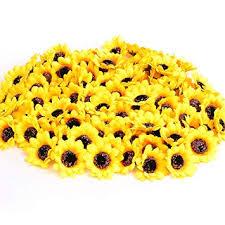 Amazon.com: KINWELL 100pcs Mini Artificial <b>Silk</b> Yellow Sunflower ...