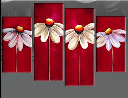 Details about RED FLORAL <b>CANVAS</b> DAISIES <b>PAINTING WALL</b> ...