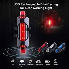 USB <b>Rechargeable</b> Bike <b>Rear LED Tail</b> Light Safety Warning Light ...